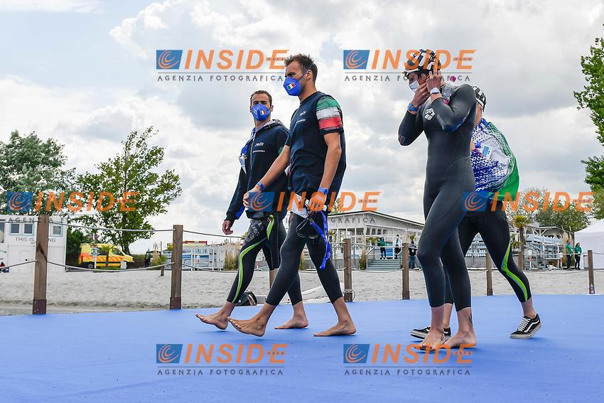 PALTRINIERI Gregorio, ACERENZA Domenico, GABBRIELLESCHI Giulia, BRUNI Rachele ITA<br /> Team Event 5 km<br /> Open Water<br /> Budapest  - Hungary  15/5/2021<br /> Lupa Lake<br /> XXXV LEN European Aquatic Championships<br /> Photo Andrea Staccioli / Deepbluemedia / Insidefoto