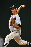 Starting pitcher Tyler Jackson (22) of the USC Upstate Spartans delivers a pitch in a game against the South Carolina Gamecocks on Tuesday, March 15, 2016, at Fluor Field at the West End in Greenville, South Carolina. (Tom Priddy/Four Seam Images)