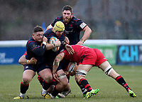 James Tyas of London Scottish is tackled during the Greene King IPA Championship match between London Scottish Football Club and Jersey at Richmond Athletic Ground, Richmond, United Kingdom on 16 December 2017. Photo by Mark Kerton / PRiME Media Images.