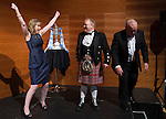 St Johnstone FC Scottish Cup Celebration Dinner at Perth Concert Hall...01.02.15<br /> Linda Findlay from The Cherrybank Inn celebrates after winning the game of Heads and Tails and pocketing £500<br /> Picture by Graeme Hart.<br /> Copyright Perthshire Picture Agency<br /> Tel: 01738 623350  Mobile: 07990 594431