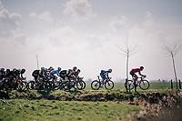 Nikolas Maes (BEL/Lotto-Soudal) driving the peloton accross the 'Moeren'<br /> <br /> Driedaagse Brugge-De Panne 2018<br /> Bruges - De Panne (202km)