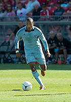 August 18, 2012: Sporting KC forward Teal Bunbury #9 in action during an MLS game between Toronto FC and Sporting Kansas City at BMO Field in Toronto, Ontario Canada..Sporting Kansas City won 1-0.