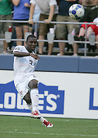 Freddy Adu kicks the ball. USA defeated Grenada 4-0 during the First Round of the 2009 CONCACAF Gold Cup at Qwest Field in Seattle, Washington on July 4, 2009.