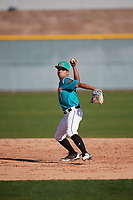 Eric Bucheli (1) of Grace Chrisitian School in Valrico, Florida during the Baseball Factory All-America Pre-Season Tournament, powered by Under Armour, on January 13, 2018 at Sloan Park Complex in Mesa, Arizona.  (Mike Janes/Four Seam Images)