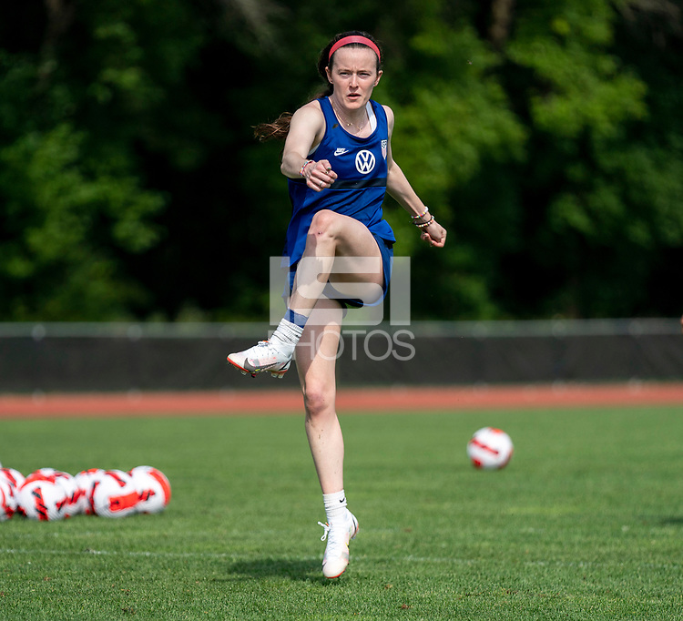 CLEVELAND, OH - SEPTEMBER 14: Rose Lavelle of the United States takes a shot during a training session at the training fields on September 14, 2021 in Cleveland, Ohio.