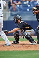 Bradenton Marauders catcher Christian Kelley (27) awaits the pitch during the first game of a doubleheader against the Tampa Yankees on April 13, 2017 at George M. Steinbrenner Field in Tampa, Florida.  Bradenton defeated Tampa 4-1.  (Mike Janes/Four Seam Images)