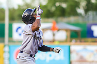 Kane County Cougars second baseman Fernery Ozuna (9) points to the sky following a home run during game one of a Midwest League doubleheader against the Wisconsin Timber Rattlers on June 23, 2017 at Fox Cities Stadium in Appleton, Wisconsin.  Kane County defeated Wisconsin 4-3. (Brad Krause/Four Seam Images)