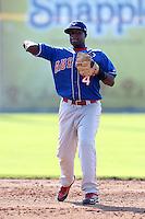 Auburn Doubledays shortstop Carlos Alvarez #4 during a game against the Batavia Muckdogs at Dwyer Stadium on July 17, 2011 in Batavia, New York.  Batavia defeated Auburn 8-3.  (Mike Janes/Four Seam Images)