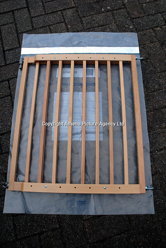 """Pictured: The stairs gate shown as evidence by the CPS in the case against Matthew Scully Hicks.<br /> Re: Matthew Scully Hicks has been found guilty of the murder of Elsie Scully Hicks at Cardiff Crown Court today.<br /> Speaking after the trial Senior investigating officer T/Detective Chief Inspector Stuart Wales of South Wales Police Major Crime Investigation Team said: """"Our thoughts today are with little Elsie and those who knew and loved her.<br /> """"Her untimely death at just 18 months old has had a devastating effect first and foremost on her family, who remain upper-most our thoughts. <br /> """"Elsie's death has also impacted a wider community, including the many professionals involved in her care and the subsequent investigation. I would like to thank all of them, including the many witnesses who assisted the prosecution.<br /> """"Matthew Scully-Hicks has now been found guilty of murder.<br /> """"This case represents an extremely rare and distressing set of circumstances. We at South Wales Police continue to respect and value the role that adoption, and those involved, play in our society."""""""