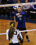 Marymount's Cailyn Thomas passes in a college volleyball game in Lexington Park, MD, on Wednesday, Oct. 29, 2014. Marymount won 3-2 to go 24-9 on the season.<br /> Photo by Cathleen Allison