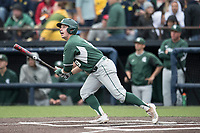 Michigan State Spartans second baseman Dan Durkin (9) follows through on his swing against the Michigan Wolverines on May 19, 2017 at Ray Fisher Stadium in Ann Arbor, Michigan. Michigan defeated Michigan State 11-6. (Andrew Woolley/Four Seam Images)