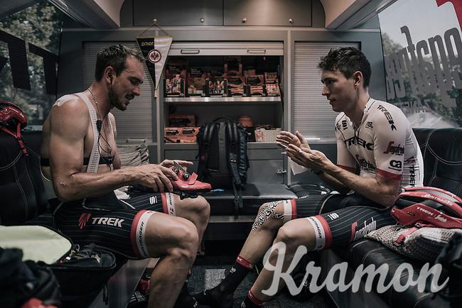 John Degenkolb (DEU/Trek-Segafredo) & Michael Gogl (AUT/Trek-Segafredo) prepping in the back of the teambus<br /> <br /> 104th Tour de France 2017<br /> Stage 8 - Dole › Station des Rousses (187km)