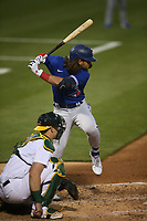 OAKLAND, CA - MAY 3:  Bo Bichette #11 of the Toronto Blue Jays bats against the Oakland Athletics during the game at the Oakland Coliseum on Monday, May 3, 2021 in Oakland, California. (Photo by Brad Mangin)