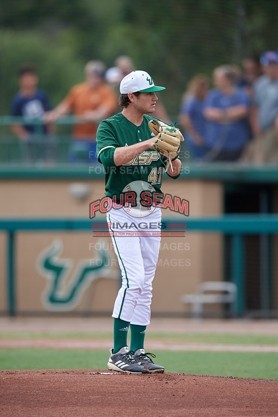 USF Bulls starting pitcher Ben Koff (47) gets ready to deliver a pitch during a game against the Dartmouth Big Green on March 17, 2019 at USF Baseball Stadium in Tampa, Florida.  USF defeated Dartmouth 4-1.  (Mike Janes/Four Seam Images)