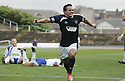 08/08/2009  Copyright  Pic : James Stewart.sct_11_dundee_v_morton  .SEAN HIGGINS CELEBRATES AFTER HE SCORES FOR DUNDEE.James Stewart Photography 19 Carronlea Drive, Falkirk. FK2 8DN      Vat Reg No. 607 6932 25.Telephone      : +44 (0)1324 570291 .Mobile              : +44 (0)7721 416997.E-mail  :  jim@jspa.co.uk.If you require further information then contact Jim Stewart on any of the numbers above.........