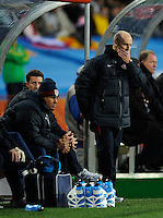 USA manager Bob Bradley looks concerned. USA tied Slovenia 2-2 in the 2010 FIFA World Cup at Ellis Park in Johannesburg, South Africa on June 18th, 2010.