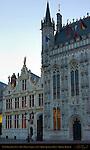 Town Hall Stadhuis and Civil Registry at Dawn, Burg Square, Bruges, Brugge, Belgium