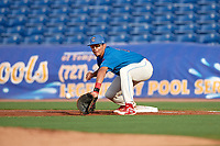 Clearwater Threshers first baseman Darick Hall (21) stretches for a throw during a game against the Fort Myers Miracle on May 31, 2018 at Spectrum Field in Clearwater, Florida.  Clearwater defeated Fort Myers 5-1.  (Mike Janes/Four Seam Images)