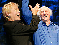 Quebec City, June 27 2007. Pauline Marois and Quebec singer Gilles Vigneault wave to the crowd as Marois is crowned the new PQ leader during a rally at the ThÈatre du Capitole in Quebec City June 27, 2007.<br /> <br /> PHOTO :  Francis Vachon - Agence Quebec Presse