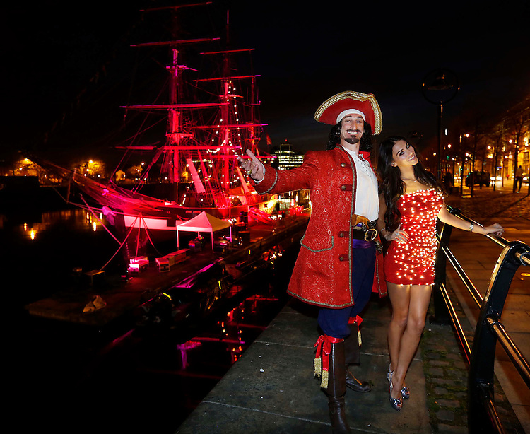 Buccaneer Captain Morgan and Georgia Salpa officially kicked off festive party season in Ireland last night at his unique Christmas lights ceremony on board the Jeanie Johnston ship on Dublin..Pic: Robbie Reynolds/Corporate PR Photography.