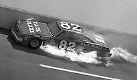 Bob Brevak hits the wall and his car bursts into flames during an ARCA race at Alabama International Motor Speedway in Talladega, AL in May , 1983.  (Photo by Brian Cleary/www.bcpix.com)