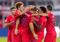 WASHINGTON, DC - OCTOBER 11: Jordan Morris #11 of the United States celebrates during a game between Cuba and USMNT at Audi Field on October 11, 2019 in Washington, DC.