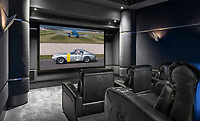 BNPS.co.uk (01202 558833)<br /> Pic: HamptonsInternational/BNPS<br /> <br /> Stunning cinema...<br /> <br /> A futuristic 'Hollywood Hills' home which is nestled in the English countryside has emerged on the market for almost £5million.<br /> <br /> Harwin, in Bourne End, Bucks, would not look out of place on the big screen with its striking modern design.<br /> <br /> The five bedroom property which offers stunning views of the Thames Valley has its own cinema, gym and swimming pool.<br /> <br /> It is being sold with estate agent Hamptons International with a guide price of £4.75million.