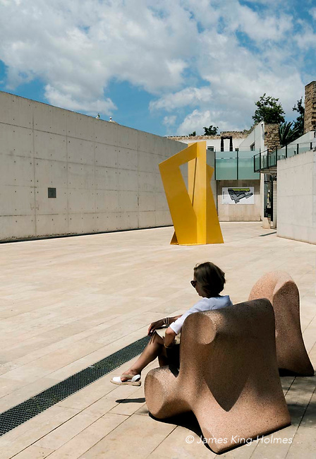 Modern design stone seating in the courtyard of Es Baluard, the museum of modern and contemporary art in Palma, Mallorca, Spain.