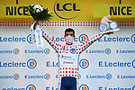 Fabien Grellier (FRA) Total Direct Energie wears the first mountains Polka Dot Jersey at the end of Stage 1 of Tour de France 2020, running 156km from Nice Moyen Pays to Nice, France. 29th August 2020.<br /> Picture: ASO/Alex Broadway | Cyclefile<br /> All photos usage must carry mandatory copyright credit (© Cyclefile | ASO/Alex Broadway)