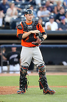 July 10th 2008:  Catcher Matt Wieters of the Bowie Baysox, Class-AA affiliate of the Baltimore Orioles, during a game at Canal Park in Akron, OH.  Photo by:  Mike Janes/Four Seam Images