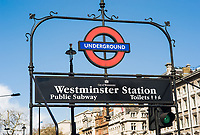 London Underground sign for Westminster Station in London, England, UK.