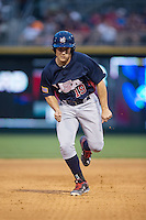Matt Thaiss (19) of the US Collegiate National Team hustles towards third base against the against the Cuban National Team at BB&T BallPark on July 4, 2015 in Charlotte, North Carolina.  The United State Collegiate National Team defeated the Cuban National Team 11-1.  (Brian Westerholt/Four Seam Images)