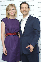 "KIRSTEN DUNST & TOBEY MAGUIRE.Photocall for ""Spider-Man 3"" held at the Hotel Excelsior, Rome, Italy..April 24th, 2007.half length purple sleeveless dress blue suit jacket red belt.CAP/CAV.©Luca Cavallari/Capital Pictures"