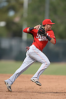 Cincinnati Reds shortstop Luis Gonzalez (59) during an Instructional League game against the Milwaukee Brewers on October 6, 2014 at Maryvale Baseball Park Training Complex in Phoenix, Arizona.  (Mike Janes/Four Seam Images)
