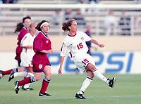 SAN JOSE, CA - MAY 09: Tisha Venturini # 15 during a game between England and USWNT at Spartan Stadium on May 09, 1997 in San Jose, California.