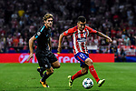 Angel Correa (r) of Atletico de Madrid fights for the ball with Marcos Alonso of Chelsea FC during the UEFA Champions League 2017-18 match between Atletico de Madrid and Chelsea FC at the Wanda Metropolitano on 27 September 2017, in Madrid, Spain. Photo by Diego Gonzalez / Power Sport Images