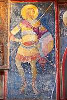 The 11th century Roman Byzantine Church of the Holy Saviour in Chora and a fresco of a saint in parecclesion chapel Endowed between 1315-1321 by the powerful Byzantine statesman and humanist  Theodore Metochites. Kariye Museum  Istanbul