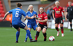 Kirsty Hanson of Manchester United Women and Ellie Christan of Durham and Sarah Robson of Durham