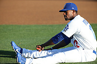 Victor Roache (22) of the Rancho Cucamonga Quakes stretches before a game against the Modesto Nuts at LoanMart Field on June 5, 2017 in Rancho Cucamonga, California. Rancho Cucamonga defeated Modesto, 7-5. (Larry Goren/Four Seam Images)