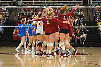 STANFORD, CA - NOVEMBER 17: Stanford, CA - November 17, 2019: Kathryn Plummer, Morgan Hentz, Kate Formico, Jenna Gray, Meghan McClure, Madeleine Gates at Maples Pavilion. #4 Stanford Cardinal defeated UCLA in straight sets in a match honoring neurodiversity. during a game between UCLA and Stanford Volleyball W at Maples Pavilion on November 17, 2019 in Stanford, California.
