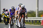 The breakaway led by Tony Gallopin (FRA) AG2R Citroën Team roll through the intermediate sprint at Al Quadra Cycle Track Stage 6 of the 2021 UAE Tour running 165km from Deira Island to Palm Jumeirah, Dubai, UAE. 26th February 2021.  <br /> Picture: Eoin Clarke   Cyclefile<br /> <br /> All photos usage must carry mandatory copyright credit (© Cyclefile   Eoin Clarke)