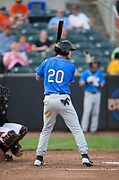 Matt Eureste (20) of the Hudson Valley Renegades at bat against the Aberdeen IronBirds at Leidos Field at Ripken Stadium on July 27, 2017 in Aberdeen, Maryland.  The Renegades defeated the IronBirds 2-0 in game one of a double-header.  (Brian Westerholt/Four Seam Images)