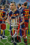 FC Barcelona's Munir El Haddadi celebrates the victory in the Spanish Kings Cup Final match. May 22,2016. (ALTERPHOTOS/Acero)