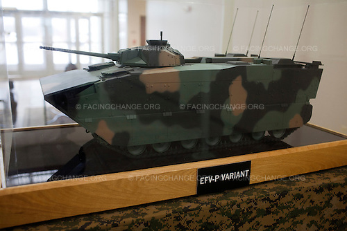 Lima, Ohio.March 2012..Model of new armored vehicle that the plant was supposed to build; its cancellation will lead to 200 layoffs in the coming year and has also sparked discussion of mothballing the plant entirely until 2018...The Joint Systems Manufacturing Center (US Army Tank Plant) which is the only heavy armored tank factory in the United States. They build and refurbish Abrams tanks, Stryker armored personnel carriers, and other weapons systems.