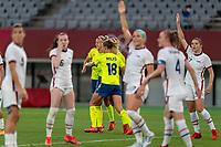 TOKYO, JAPAN - JULY 21: Stina Blackstenius #11 of Sweden celebrates her goal during a game between Sweden and USWNT at Tokyo Stadium on July 21, 2021 in Tokyo, Japan.