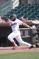 Carlos Reina (25) of the Inland Empire 66ers bats against the Fresno Grizzlies at San Manuel Stadium on May 25, 2021 in San Bernardino, California. (Larry Goren/Four Seam Images)