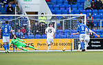 St Johnstone v Hamilton Accies…26.10.19   McDiarmid Park   SPFL<br />Steve Davies scores from the penalty spot<br />Picture by Graeme Hart.<br />Copyright Perthshire Picture Agency<br />Tel: 01738 623350  Mobile: 07990 594431