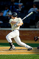 Jack Carey (20) of the Wake Forest Demon Deacons follows through on his swing against the Virginia Cavaliers at Wake Forest Baseball Park on April 6, 2013 in Winston-Salem, North Carolina.  (Brian Westerholt/Four Seam Images)