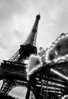 Carousel and Eiffel Tower, Paris, France