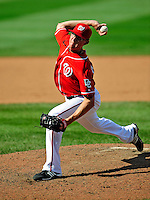 23 August 2009: Washington Nationals' pitcher Tyler Clippard on the mound in relief against the Milwaukee Brewers at Nationals Park in Washington, DC. The Nationals defeated the Brewers 8-3 in the third game of their four-game series, snapping a five games losing streak. Mandatory Credit: Ed Wolfstein Photo